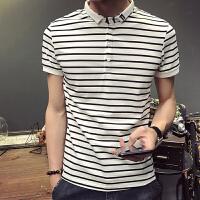 夏季新款条纹翻领POLO衫S码矮小个子短袖保罗衫青年韩版修身半袖