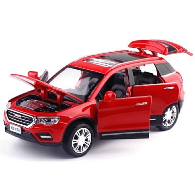 儿童玩具声光回力小汽车玩具模型H6运动版七开门城市SUV合金车模