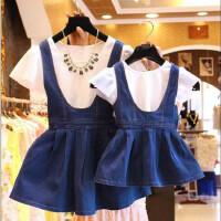 亲自装母女装牛仔裙套装宝宝姐妹装儿童女孩夏装夏季宝贝裙子公主