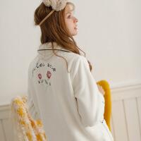 月子服秋冬季产后哺乳衣孕妇产妇喂奶睡衣女秋装加厚法兰绒家居服