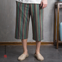 中国风男装夏季薄款复古麻料条纹休闲裤宽松大码棉麻阔亚麻七分裤