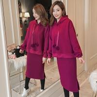 孕妇长袖韩版俏皮宽松加绒卫衣+托腹裙套装两件套套装