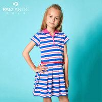 派克兰帝童装短袖连衣裙2018夏季女童色织条纹POLO领短袖连衣裙