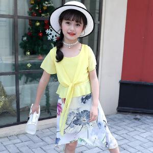 乌龟先森 儿童T恤套装 女童雪纺短袖圆领中国风度假裙夏季韩版新款时尚休闲中大童款式两件套装