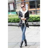 2016天新款羽绒女士中款外套韩版修身大码显瘦学生连帽棉衣