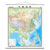 【共2张】竖版世界和中国地形挂图套装2018全新 约0.9x1.1米高清 防水 覆膜整张无拼接挂图