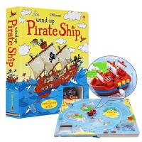 英文原版绘本 Usborne 出版 Wind-up Pirate Ship 发条海盗船发条轨道玩具书 儿童纸板书 亲子