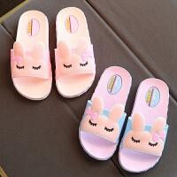防滑软底浴室可爱一字拖小公 韩版小孩凉拖女童拖鞋夏季儿童室内