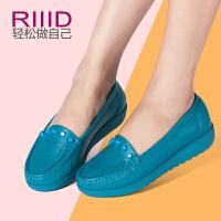 RIIID新款真皮女鞋 厚底防水台舒适平底单鞋 浅口铆钉鞋