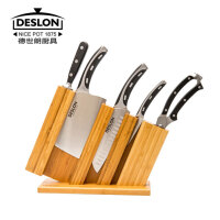 DESLON德世朗LY-TZ001-6 六件套刀具组合不锈钢全套厨房刀具套装 砍骨刀三德刀水果刀万用剪磨刀棒
