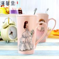 汉馨堂 马克杯 手绘美女烫钻陶瓷杯婚纱时装礼服粉色创意马克杯咖啡杯送女生礼物