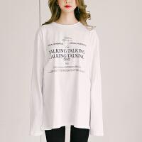 秋冬中长款大码宽松打底衫女长袖开学季韩版学生外穿T恤上衣春季 白色
