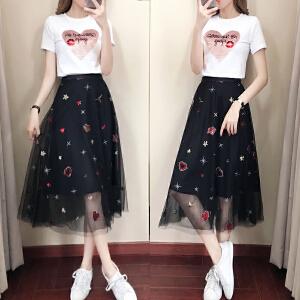 安妮纯时尚连衣裙女2019夏装新款韩版亮片T恤上衣刺绣网纱半身裙两件套