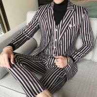 新品18四季男士韩版修身黑红条纹结婚大码西服套装潮流青年免烫三