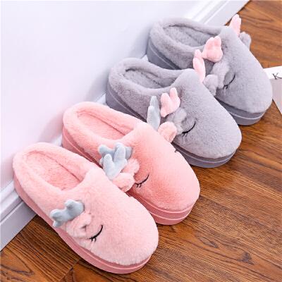 高跟厚底棉拖鞋女冬坡跟防水室内外家用加绒加厚包跟防滑保暖棉鞋