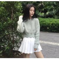 毛衣短款女秋冬新款学生韩版小清新下摆波浪边加厚粗针织单穿上衣