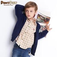 【2件3折 到手价:149】Pawinpaw卡通小熊童装秋男童小熊贴布翻领长袖格纹衬衫