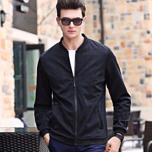伯克龙 夹克男士时尚休闲拉链短款春秋季薄款修身棒球服立领外套黑色Z31226