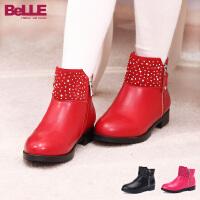 Belle/百丽童鞋秋冬中童皮鞋水钻格调中童时装靴 (4-10岁可选) DE0162