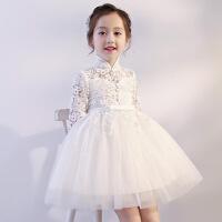 儿童礼服公主裙女童高贵婚纱小花童蓬蓬纱超仙主持走秀结婚晚礼服 本白色童话公主裙(立领)