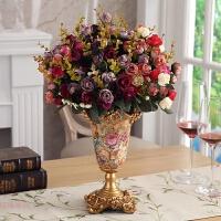 创意欧式树脂花瓶奢华家居客厅茶几摆件电视柜插花花器酒柜装饰品 配6束彩色玫瑰花