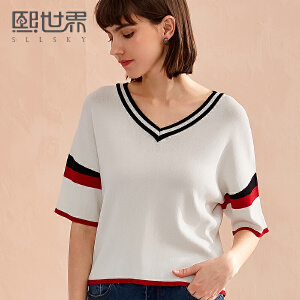 熙世界休闲运动V领条纹短袖街头风T恤女2018年夏装新款上衣SW008