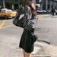 小香风套装洋气时尚韩版港味女神范两件套装裙俏皮 衬衣+皮裙