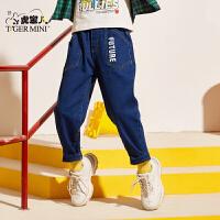 【2件3折到手价:80.7元】小虎宝儿男童牛仔长裤2020春秋新款儿童洋气运动裤子中大童童装潮
