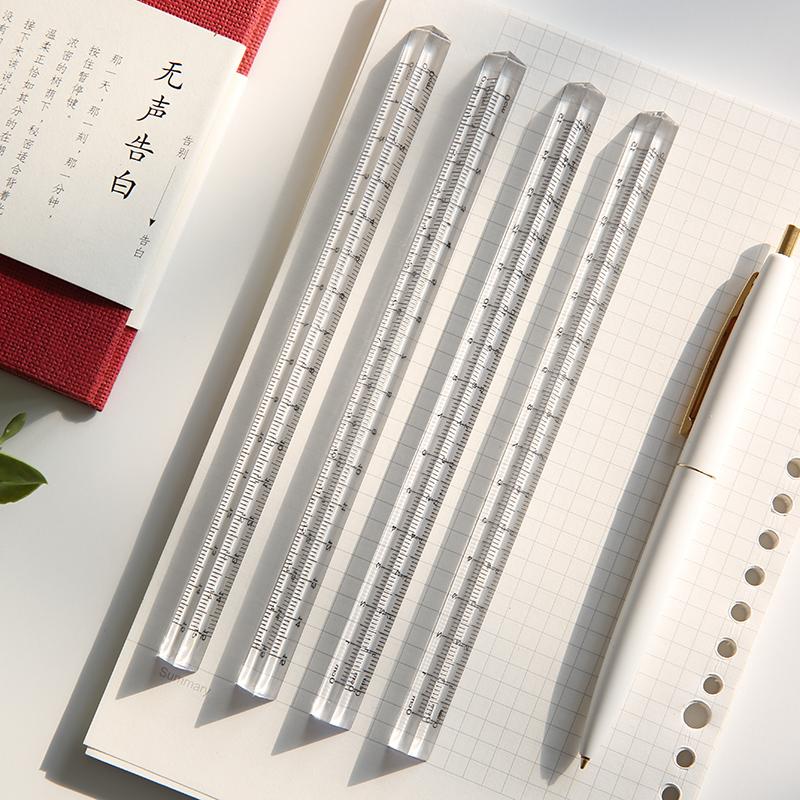 学生文具直尺三角尺立体塑料尺15cm教学用具三菱绘图尺子简约透明