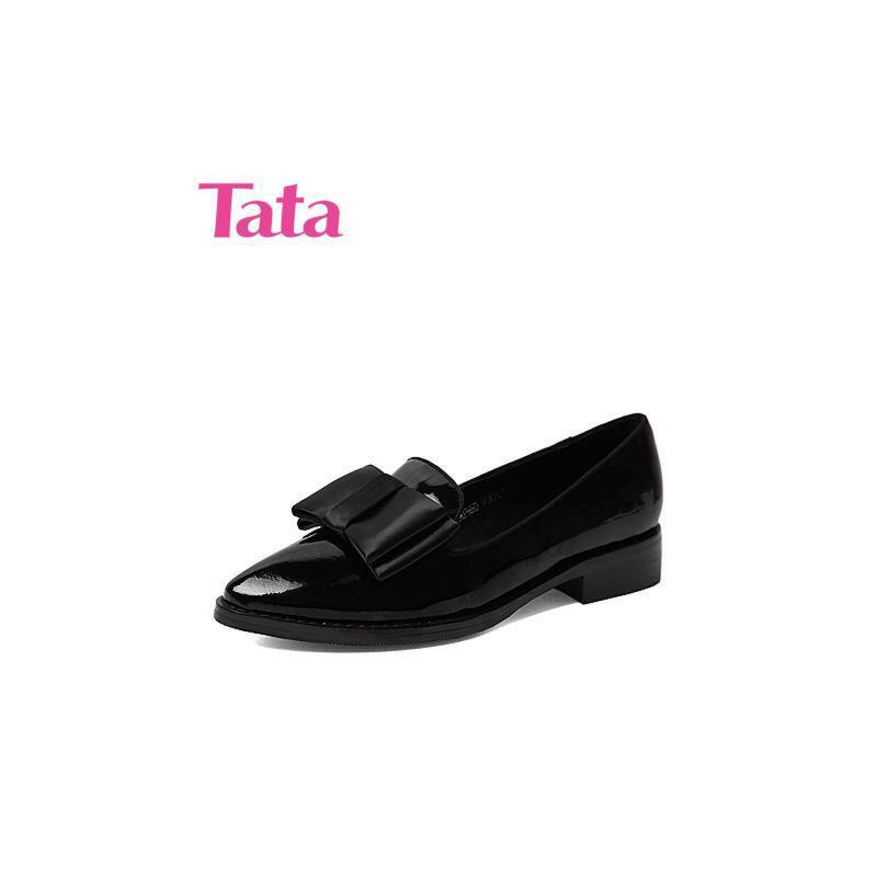 Tata/他她专柜同款时尚通勤漆牛皮女单鞋V303DCQ5 专柜1
