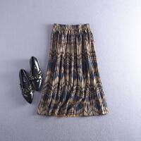 2018【C1】FSLL07秋冬季彩色条纹松紧腰半身裙Z