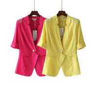 春装新小西装女外套长小西服女装修身韩版短袖潮