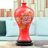 结婚装饰品家居摆设陶瓷器红色花瓶摆件客厅插花器小瓷瓶