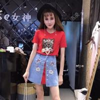 2018夏季新款韩版打底皇冠猫咪短袖连衣裙+刺绣开衩牛仔裙两件套
