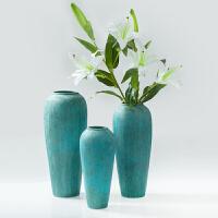 创意仿古陶瓷花瓶装饰品摆件 中式家居客厅书房三件套摆设