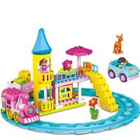 儿童电动火车轨道玩具卡通积木拼装女孩梦幻城堡火车套装