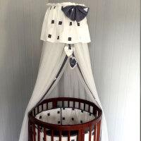 落地婴儿床圆床方床蚊帐带支架儿童宝宝床(不含床) 西班牙几何 灰白