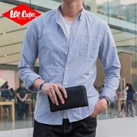 Lee Cooper2020春季新款时尚修身衬衫青年长袖上装舒适休闲男士衬衣