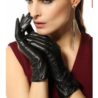 羊皮手套女士新款真皮手套冬季时��保暖加绒欧美风
