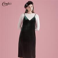 【3折到手价:72】【满399减80】韩版打底拉夏贝尔新款金丝绒吊带裙子V领裙连衣裙女士