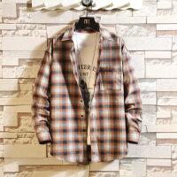 新款格子衬衫男宽松潮牌学生长袖休闲衬衣青少年男外套寸衫