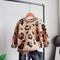 男童针织衫儿童毛衣2018秋冬加厚套头上衣韩版洋气中童2-10岁 深棕色