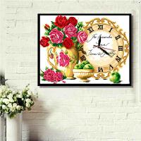 十字绣钟表成品流金岁月书房卧室挂画客厅人纯手工绣好的玫瑰花瓶