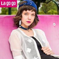 【618大促-每满100减50】【商场同款】Lagogo/拉谷谷2017年夏季新款时尚百搭拉链短袖针织衫GAMM714