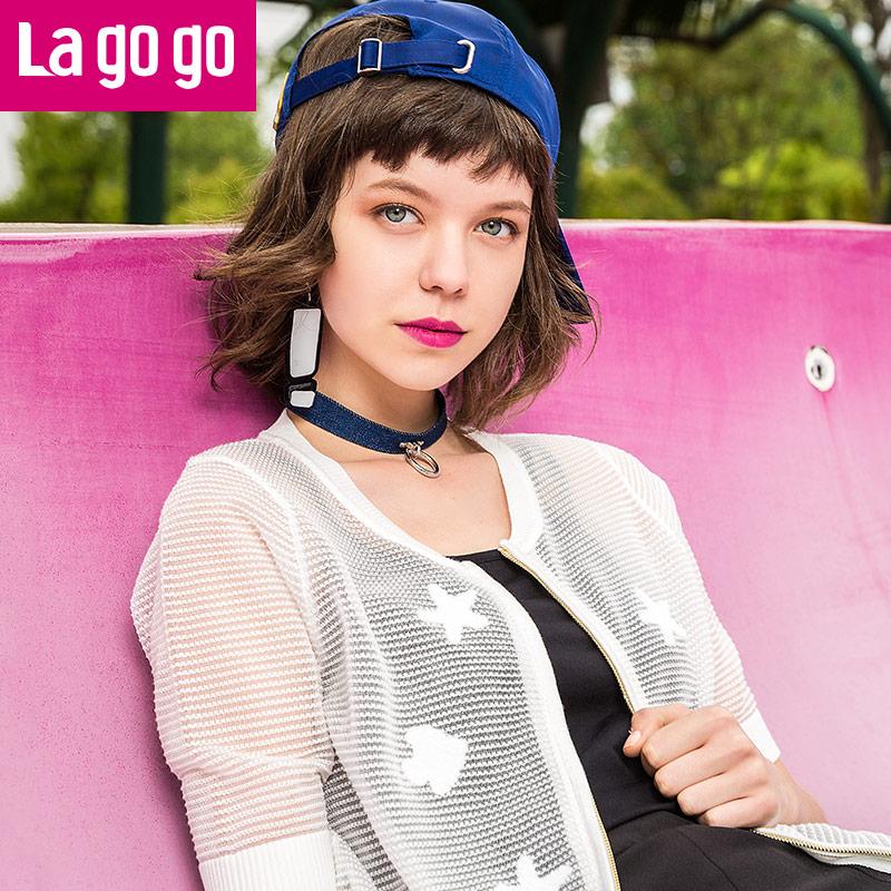 【两件4.5折后价103】【商场同款】Lagogo/拉谷谷2017年夏季新款时尚百搭拉链短袖针织衫GAMM714C20