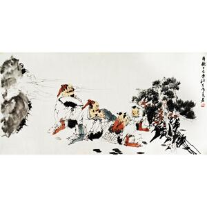 刘寒天《弈趣》著名画家刘郑公之子 有作者本人授权