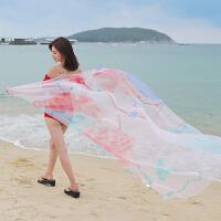 夏季防晒丝巾女士长款百搭海边多功能沙滩巾两用外搭披肩