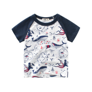 乌龟先森 儿童T恤 男童棉质翻领短袖条纹时尚休闲宽松韩版polo衫男式透气运动中小童衬衫