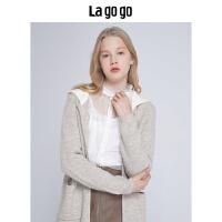 【5折价311】Lagogo/拉谷谷2018新款撞色连帽针织外套女HCMM839C23