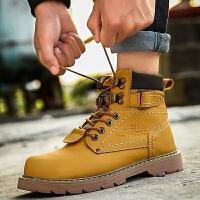 货到付款 马丁靴男潮流韩版中帮工装靴冬季加绒英伦复古大黄高帮鞋男短靴子